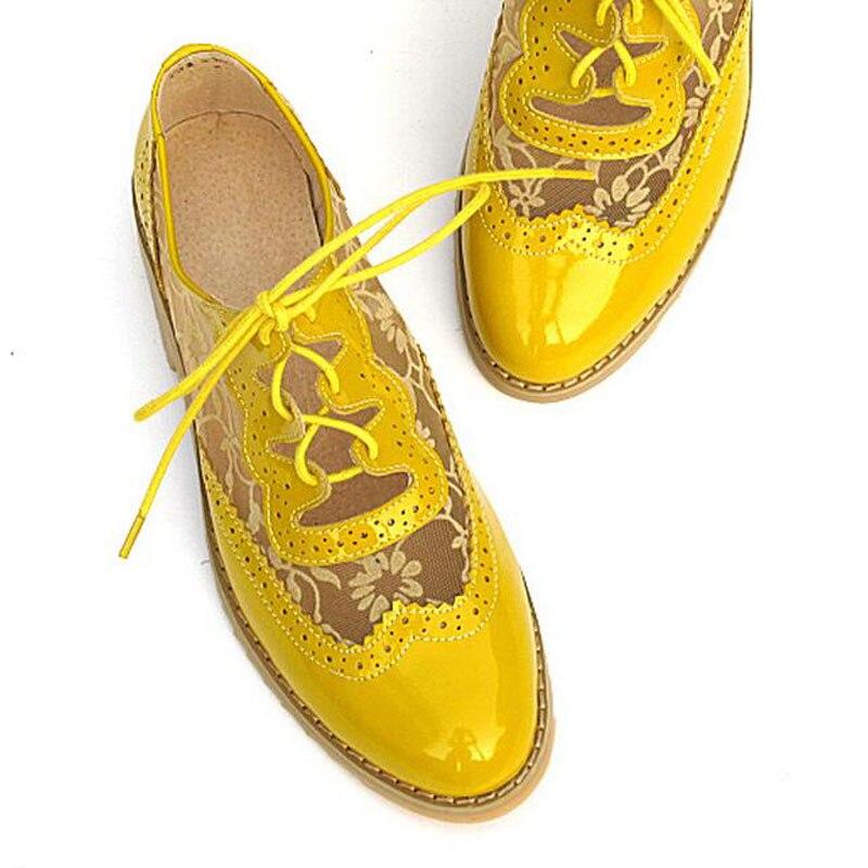 Blue Retro Mujer Zapatos black Brogues Para Cuero Plano Primavera Oxford Casual Estilo beige Oxfords Up Británico yellow Talón Lace De xw6tE4aqf