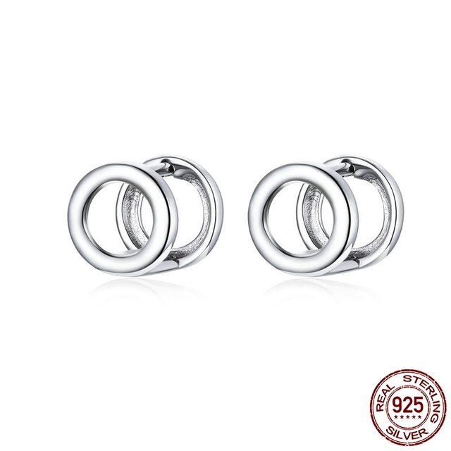 Korean version of the simple round clip earrings 925 sterling silver men and women general jewelry