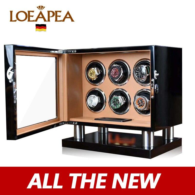 Nuevo reloj enrollador 6 caja de reloj automática caja giratoria eléctrica organizador de reloj/Nueva pantalla táctil LCD/Alta Calidad/regalo sorpresa