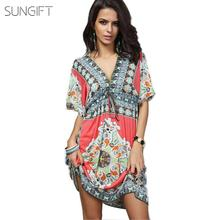 SUNGIFT African Ethnic Print Waist Knot Mini Women's Dress V Neck Dashiki Daily Dress Summer Sexy Short Sleeves Dresses 5 Colors