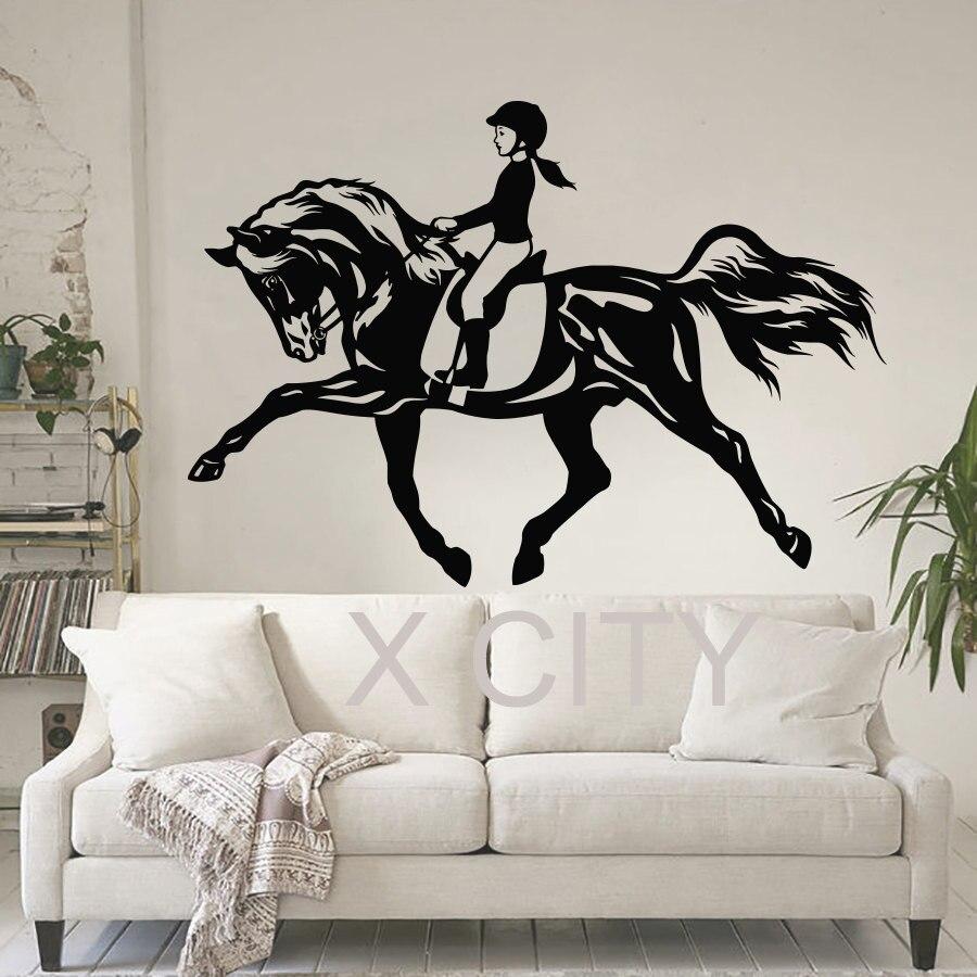 Women horse sport wall art sticker equestrian vinyl decal for Decal wall art mural