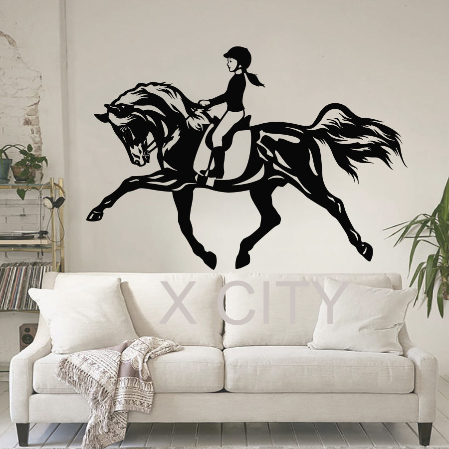 Horse sticker wall art - Women Horse Sport Wall Art Sticker Equestrian Vinyl Decal Die Cut Window Door Room Stencil Mural