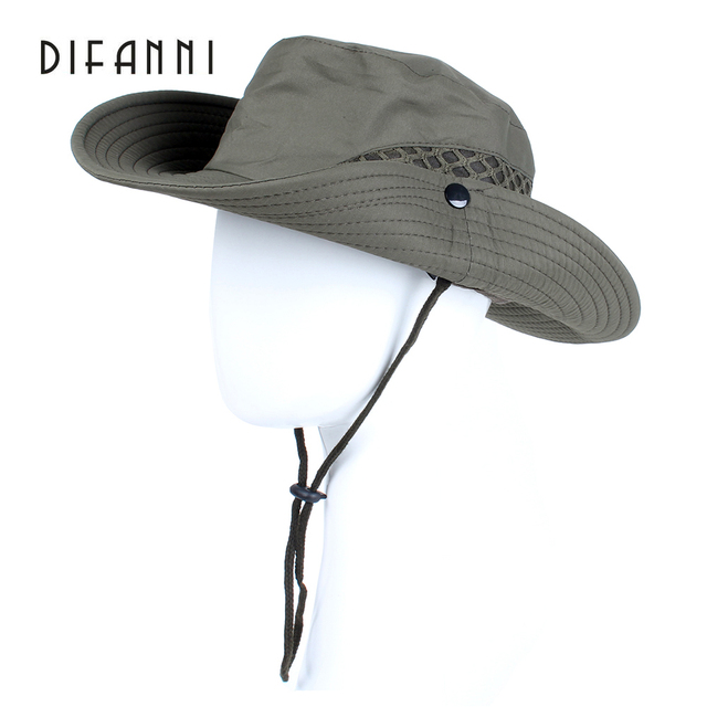 2946ec8f04d506 Difanni Summer Men Women Solid color Bucket hat with string Fisherman Cap  Military panama safari boonie