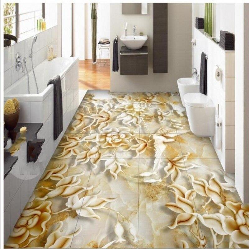 Custom 3d Floor Wallpaper Flowers Road Bathroom Kitchen: Custom 3D Flower And Bird Relief Marble Living Room