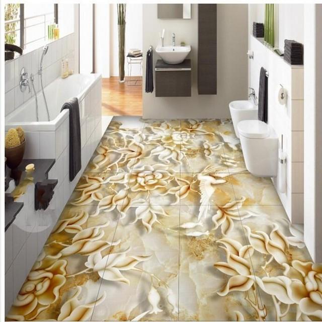 Personalizzato 3D sollievo fiori e uccelli marmo soggiorno bagno 3D ...
