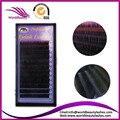 Venta caliente Profesional Natural en Dos Tonos Extensiones de Pestañas de Seda Pestañas Negro + Color, Envío Libre