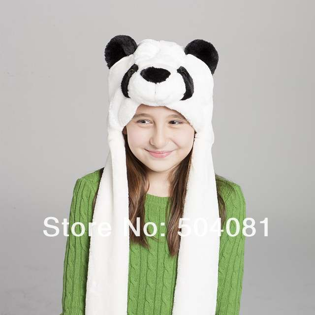 e5f2f3a6a83 Online Shop COSPLAY Plush Cartoon Panda Hats with ear flaps Fluffy Soft Warm  animal hat for men women Scarf Gloves winter Cap Free Shipping