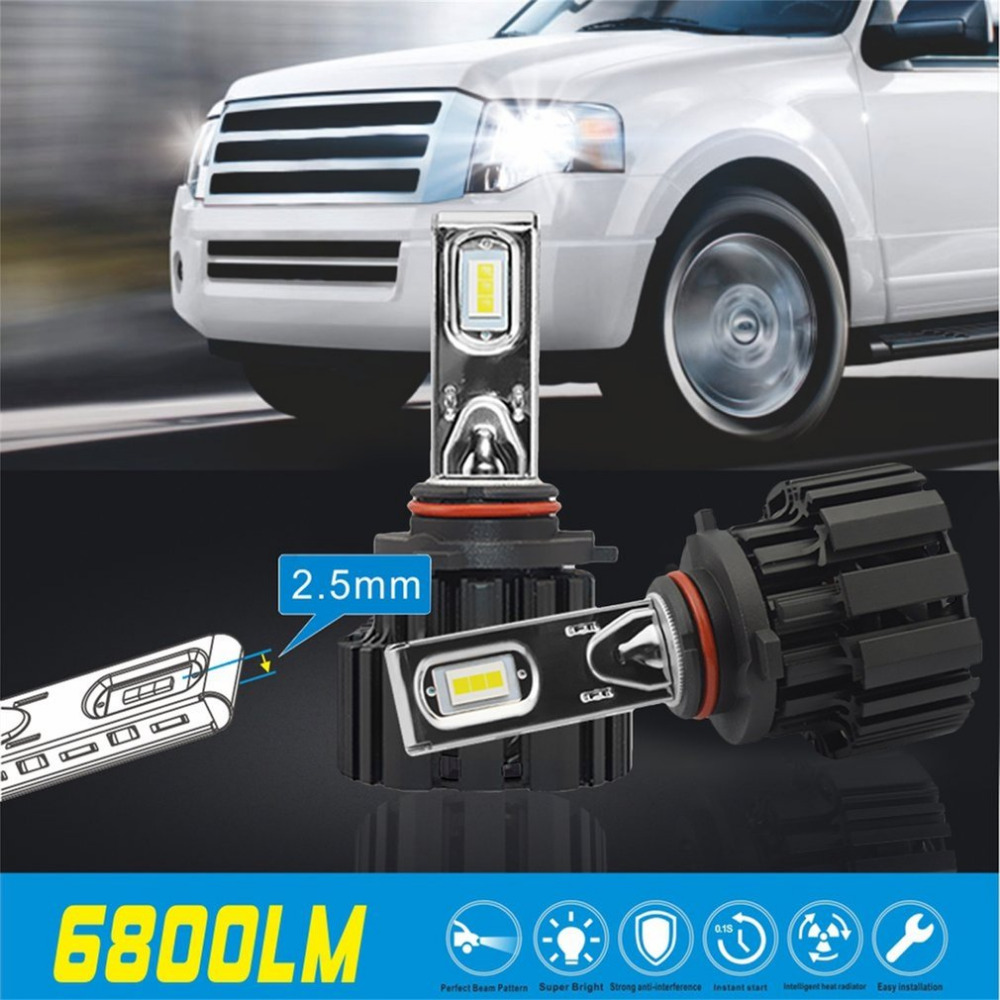 1 пара 9006 Автомобильные лампы 50W 2*6800lm Сид Р9 светодиодные фары комплект тепловыделение свет лампы высокой мощности автомобиля лампы Новый