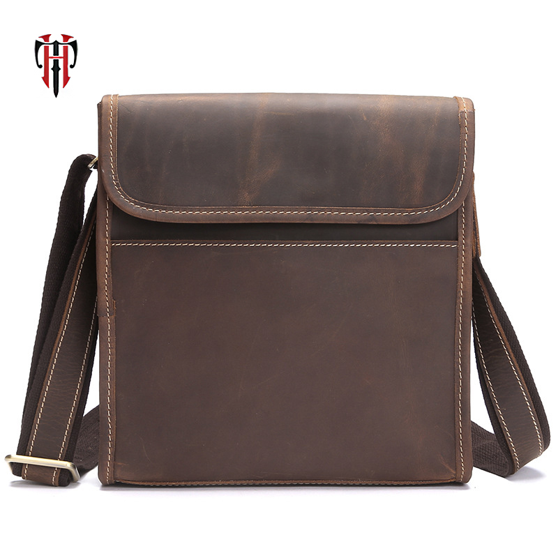 TIANHOO crazy horse cow leather man bags flap shoulder vintage casual style messenger bag for men j m d crazy horse leather women flap messenger bag casual sling bag small lady purse c005b