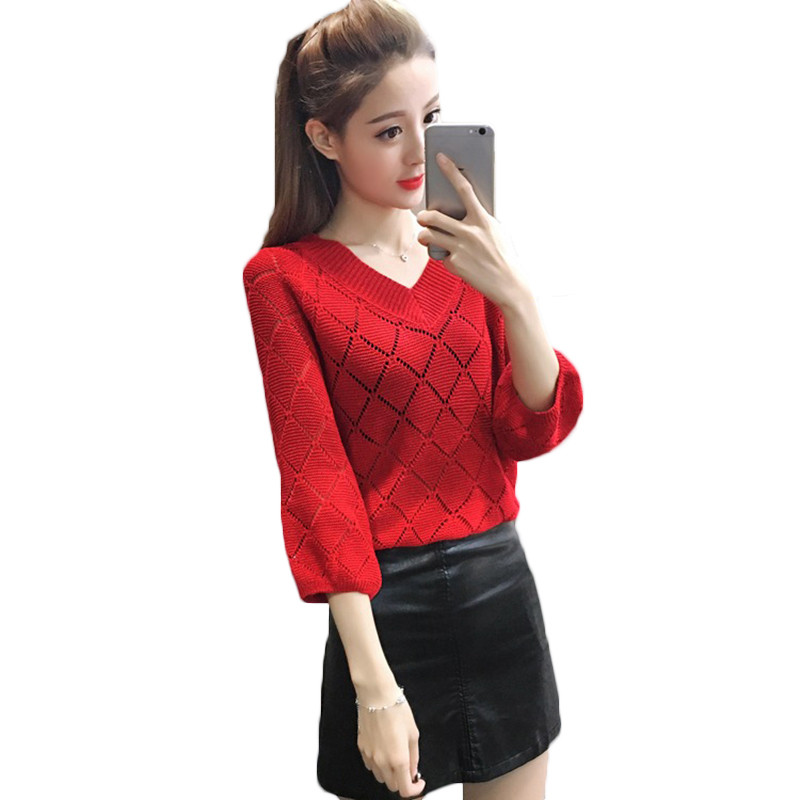 Knit Pullover Sweater Female V-Neck Loose Autumn Large-Size Women New Solid LQ200 Bat-Sleeve