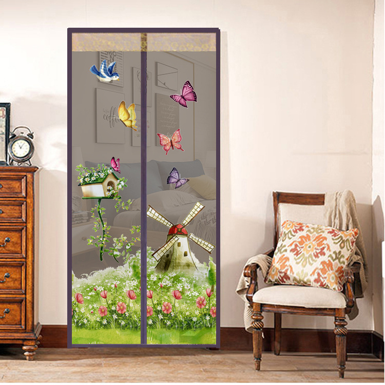 Summer Pattern Magnetic Button Mosquito Net Door Screen Bedroom Kitchen Soft Yarn Door Curtain Anti Insect Fly Mesh Door Net