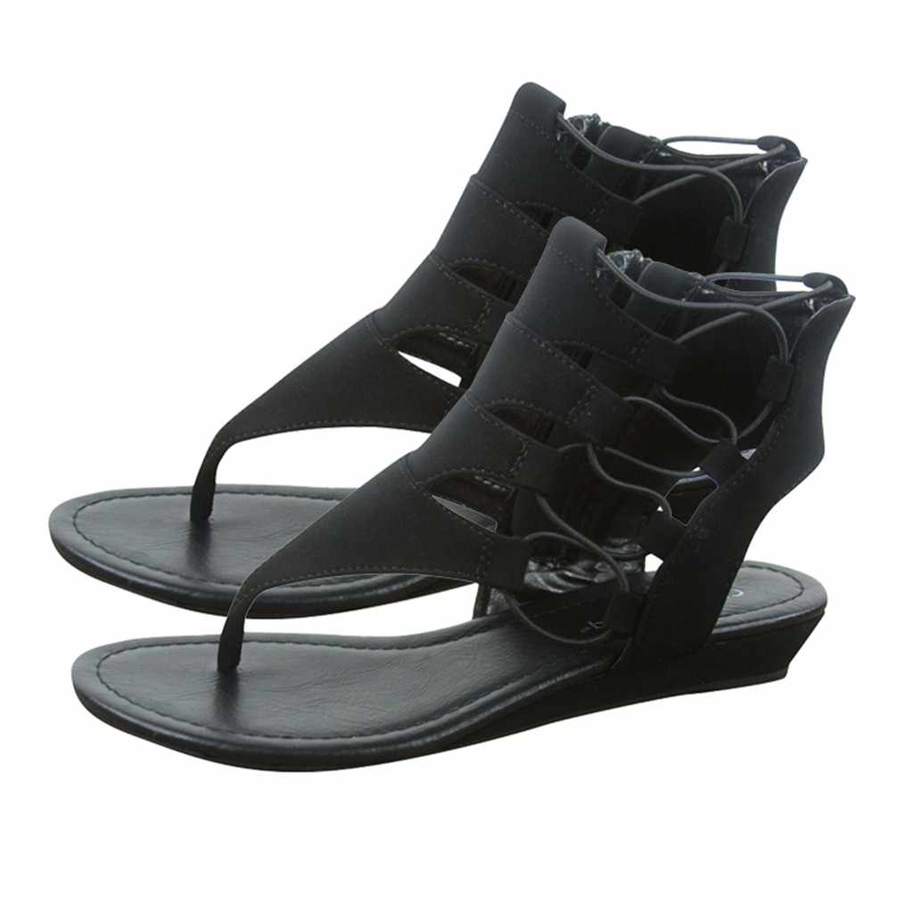 สุภาพสตรีรองเท้าส้นสูงรองเท้าแตะผู้หญิงเปิดนิ้วเท้าข้อเท้า Strappy Zipper ลูกไม้ขึ้นรองเท้า Hollow Out สไตล์โรมัน mujer Casual รองเท้า