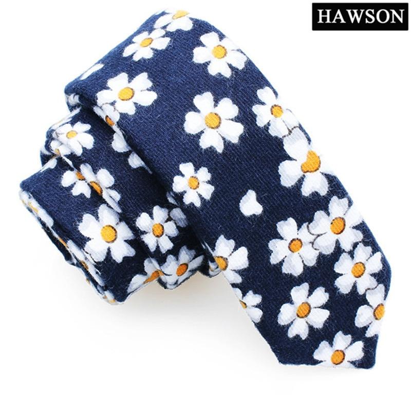 HAWSON White&Orange Floral Cotton Tie Fashion Blue 2 Inch Necktie Skinny Slim Ties For Grooms Wedding