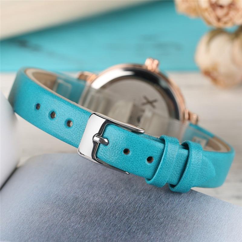 XICOO Zarif kadın Bilezik Saatler Mavi / Yeşil Basit Deri Band - Kadın Saatler - Fotoğraf 3