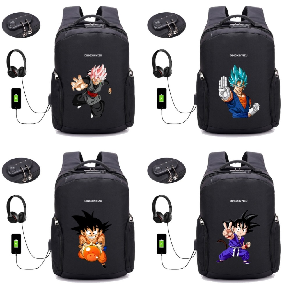 anime Dragon Ball Z backpack USB Charge Computer Backpacks Anti-theft bag student book Bags teenagers Travel backpack 28 style цены