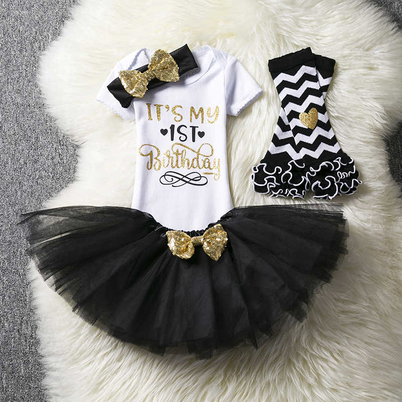 43d276f2d ... Baby Girl Half One Two Years Birthday Tutu Set Toddler Newborn Infant  Baby Baptism Clothes Outfits ...