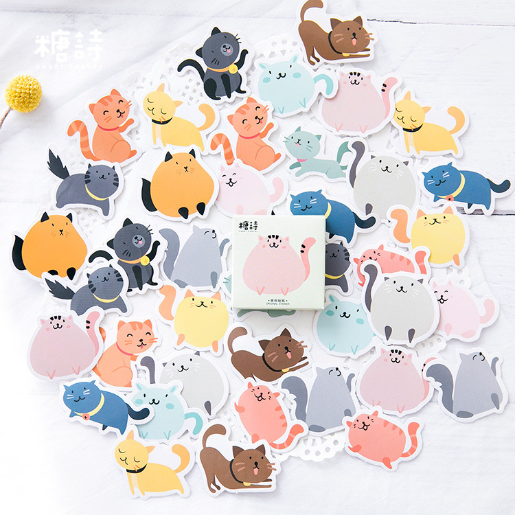 45 PCS/box New Cute Colourful cat Paper Lable Stickers Crafts And Scrapbooking Decorative Lifelog Sticker DIY Lovely Stationery 38 pcs stickers bag diy cute happy birthday scrapbook paper stationery crafts and scrapbooking decorative sticker for decoration
