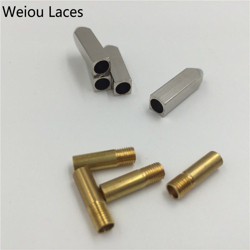 Weiou 4pcs/1 Set 5*5*19mm Gold Silver Gunblack Metal Aglet Tips Replacement Repair Shoelaces Head Aglets Ends DIY Sneaker Kits