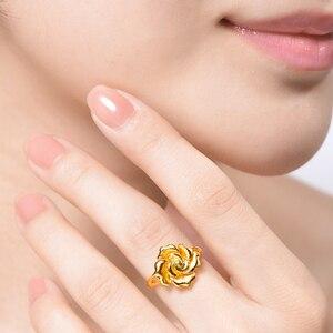 Image 4 - Женское кольцо с розами HMSS, однотонное золотистое кольцо с натуральным цветком AU 999, 2020