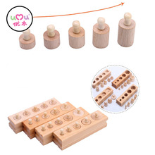 Wooden Montessori Toys For Children Early Educational Montessori Math Toy Knobbed Cylinder Montessori Materials UA2764H