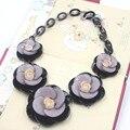 Урожай популярные роза кристалл цветок себе биб ожерелья ключицы цепи цветок заявление ожерелье кулон ожерелья воротник колье ожерелья из смолы бижутерия