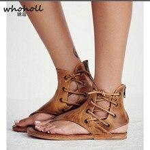 WHOHOLL Plus Size 35-43 Women Rome Sandals Summer Beach Strap Flip-flops Gladiator Flat for