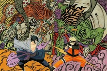 Naruto vs Sasuke art battle weapons anime comic fantasy drawing YR042 living room home wall modern art decor wood frame poster