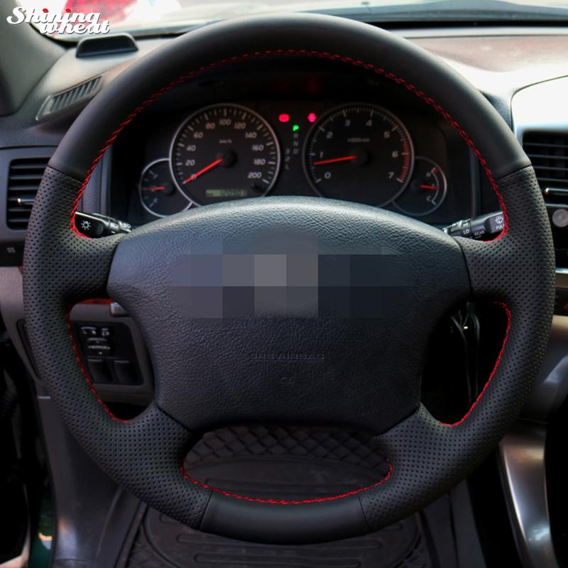 Prix pour Brillant blé cousu Main En Cuir Noir Volant pour Vieux Toyota Land Cruiser Prado 120