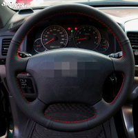 Hand Stitched Black Leather Steering Wheel Cover For Old Toyota Land Cruiser Prado 120