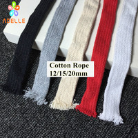 4 colors Cotton Tape 12/15/20mm flat colored braid cotton rope air core thick shoe lace belt DIY accessory free shipping 70 90m