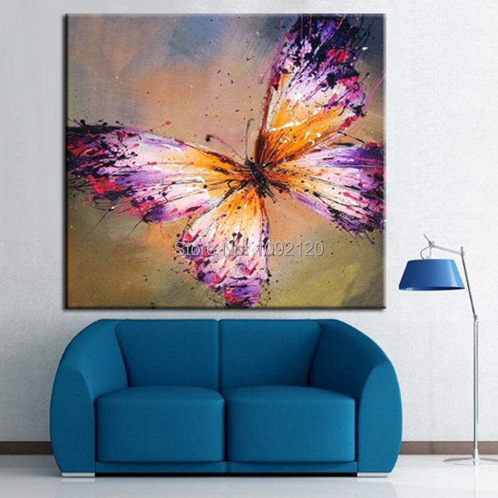 venta caliente pintura al leo sobre lienzo de alta calidad prpura de la mariposa pinturas arte
