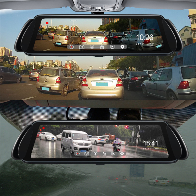 "Image 5 - Stream Media Car Recorder 10"" Car DVR Camera Rear View Mirror FHD 1080P 170 Degree Wide Angle Dash Cam Registrar-in DVR/Dash Camera from Automobiles & Motorcycles"