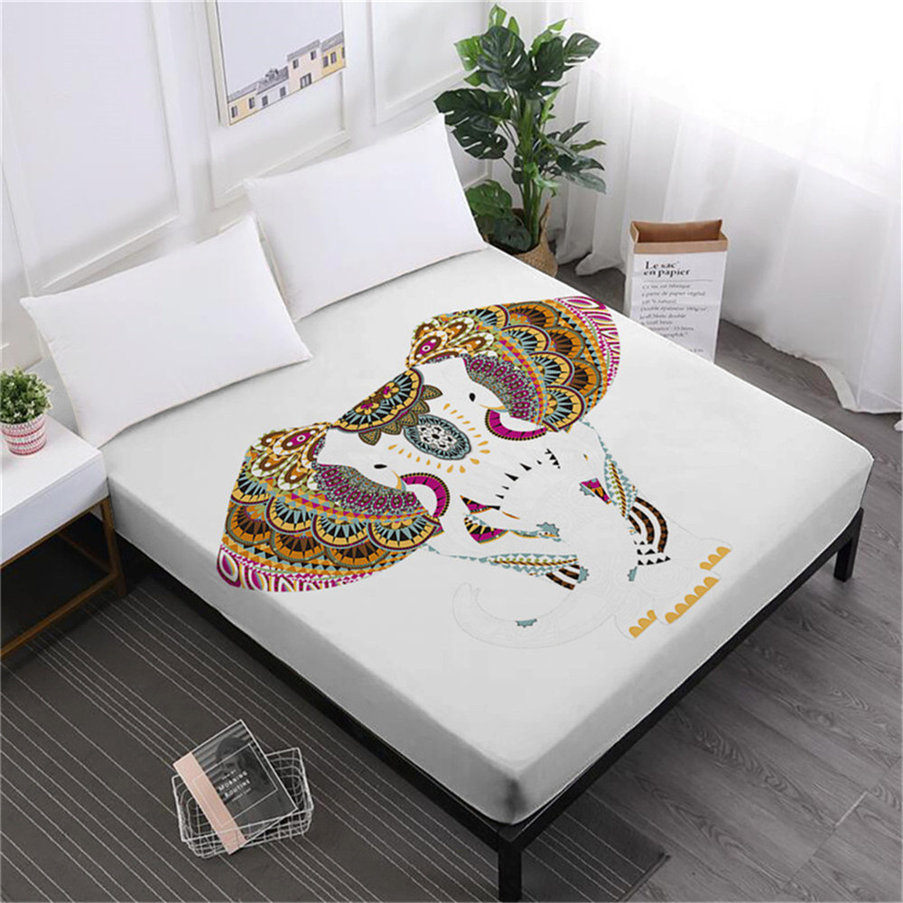 India Colorful Elephant Bed Sheet Buddhism Lotus Print Fitted Sheet King Queen Bedding Deep Pocket Bedclothes Home Decor D20 in Sheet from Home Garden
