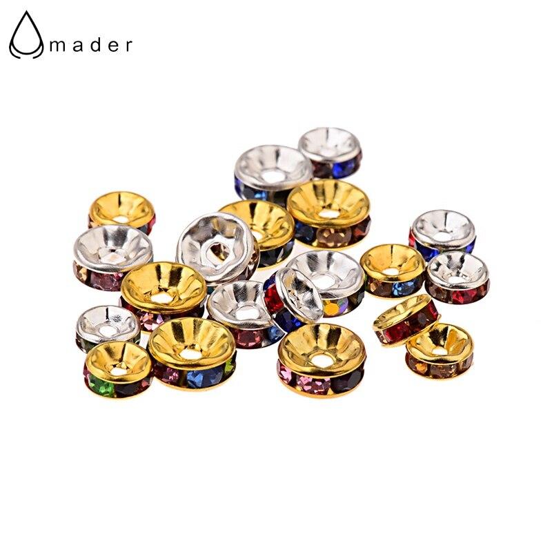 Amader 100 шт./лот 6 8 10 мм цвета: золотистый, Серебристый Spacer для DIY ювелирное аксессуары красочные Украшенные стразами из бисера BD228