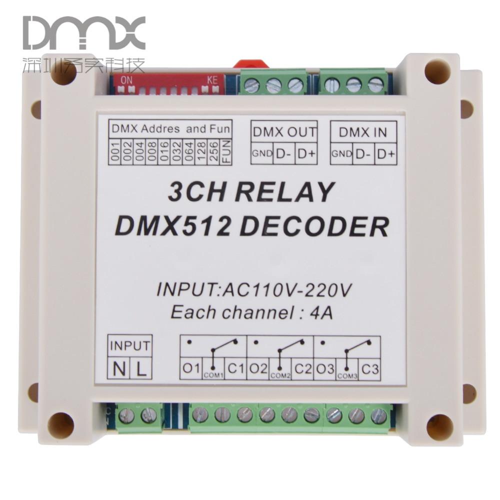 15pcs 3CH dmx512 relay  Controller, 3CH RELAY OUTPUT DMX512 relay decoder,AC1110-220V input Plastic housing WS-DMX-RELAY-3CH-220 dmx512 digital display 24ch dmx address controller dc5v 24v each ch max 3a 8 groups rgb controller