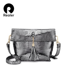 REALER 2018 women messenger bag PU leather ladies shoulder bags female crossbody bag new designs with tassel serpentine prints(China)