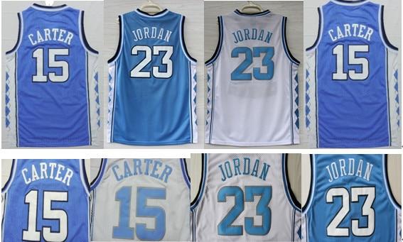 fb64a238eedd 23 Michael Jordan College jersey The University of North Carolina UNC 15  Vince Carter Men Blue White Basketball Jerseys