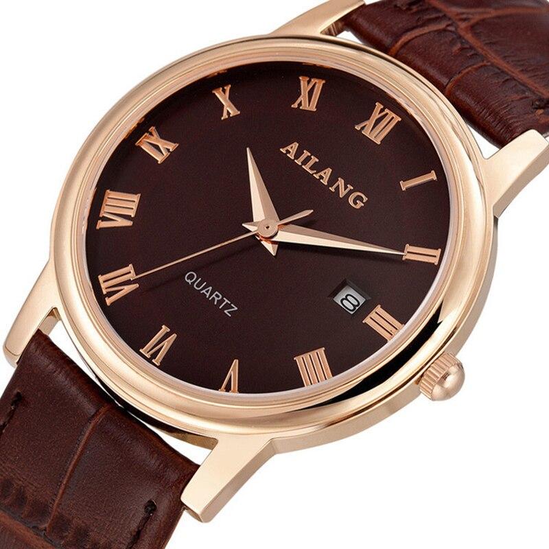 Amantes de Design da Marca de Negócios Relógios de Quartzo Romano do Vintage Estojo de Couro Relógio de Pulso Número Ultra-fino Verdadeiro Casais Calendário Relógio 3bar