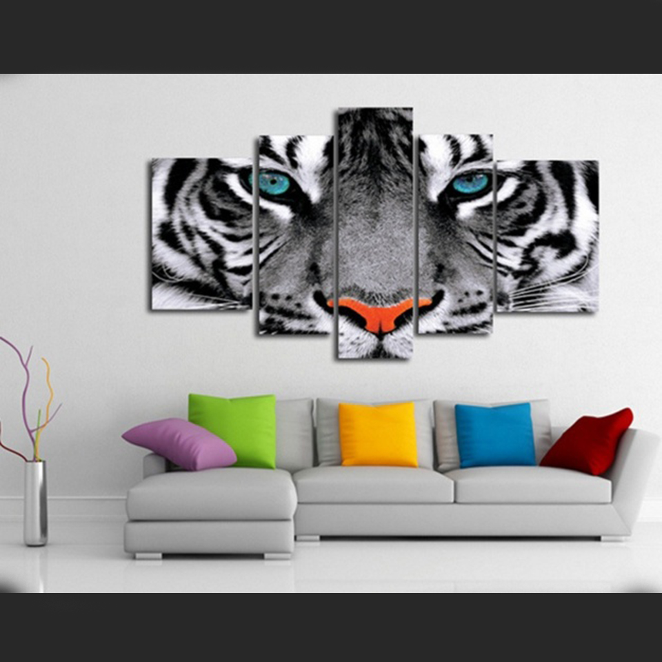 Modern wall art poster modular canvas paintings 5 pieces animal white tiger eyes pictures frame decor living room home hd prints in painting calligraphy