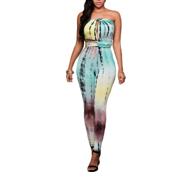 8ab2ae1faff7 FGirl Body Jumpsuits Woman Teal Lime Tie Dye Print Multi-way Jumpsuit  Bodycon Jumpsuit Women Rompers FG21699