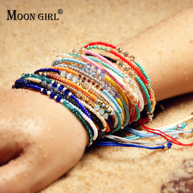 Moon Multilayer Friendship Seed Beads Bracelets For Women Bohemian Chic Handmade Por Lucky Bracelet