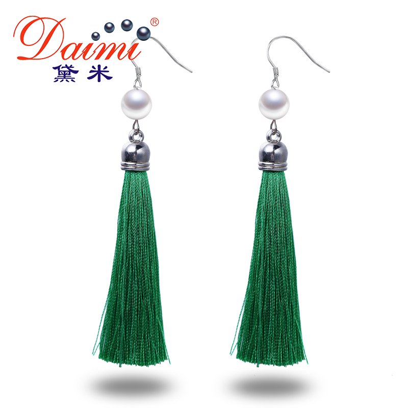 DAIMI Silver Earrings Long Tassles Drop Earrings 9 10MM White Pearl Earrings 6 Colors Green Orange