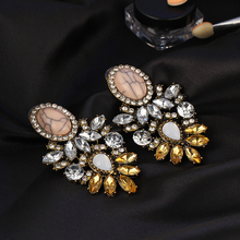 Vintage Drop Earrings with Big Crystals