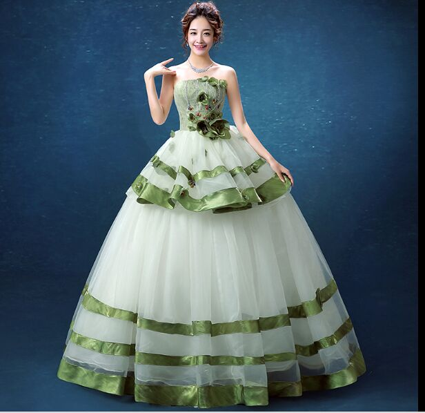 100real green ruffled flower ball gown medieval