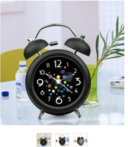 5pcs one lot wholesales Vintage Metal Colorful Cube Double Bell Loud Desk Table Alarm Clock Black Night light Stainless