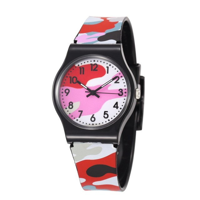 Camouflage Colors Children Army Military Watches Cute Students Silicone Quartz C