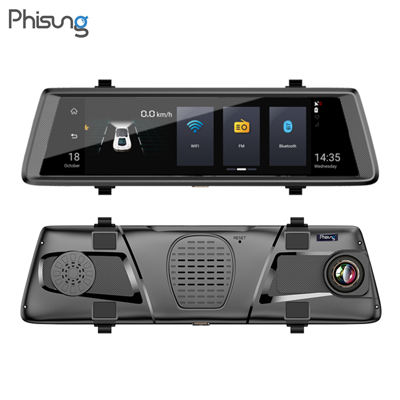 Phisung 10 Touch Screen DVRs Full HD 1080P WiFi Bluetooth Android Car DVR Rearview Mirror GPS Navigator Camera Video Recorder