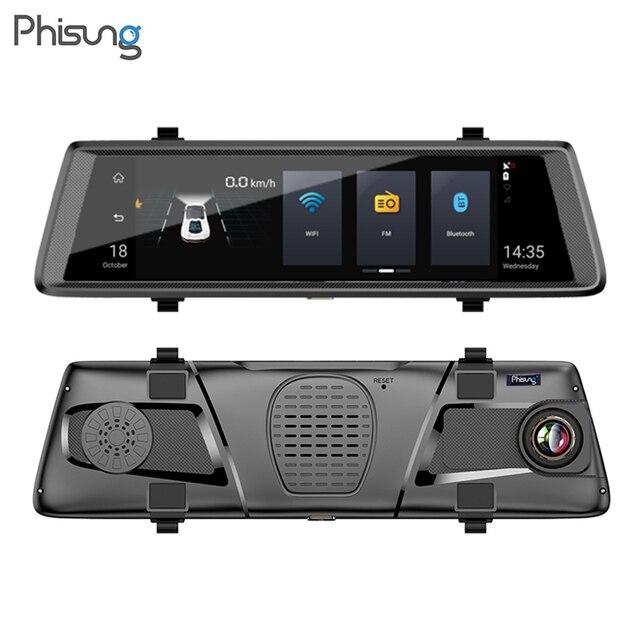 "Phisung E05 4G ADAS Car Rear View Mirror DVR Camera 10"" Android Stream Media Dashcam FHD 1080P WiFi GPS Dash Cam Video Recorder"