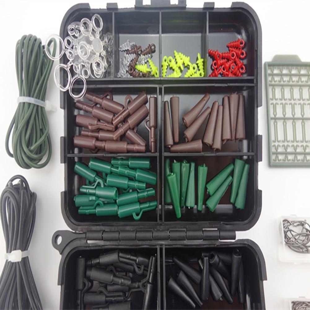 1 Pcs 1 Set Assorted <font><b>Carp</b></font> <font><b>Fishing</b></font> <font><b>Accessories</b></font> Hooks Rubber Tubes Swivels Beads Sleeves Stoppers for Hair Rig Combo Box ISP