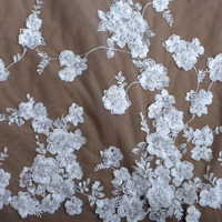 La Belleza 1 yard Off white sequins pearls 3D flowers on mesh wedding/bridal/evening dress lace fabric 51'' width
